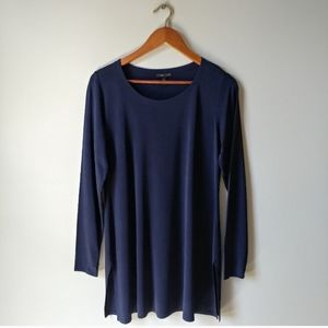 Eileen Fisher ▪ 100% Silk Navy Tunic Top